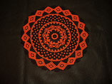 Black and Orange Halloween Lace Design Beaded Doily