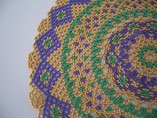 Hand Stitched Purple, Green, and Gold Lace Design Doily