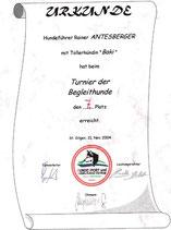 Turnier der Begleithunde am 21. Nov. 2004  beim Verein Hundesport und Ausbildungszentrum Seenregion in Abersee