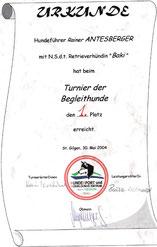 Turnier der Begleithunde und Frühjahrsmeister 2004 in der Sparte Begleithunde  I am 30. Mai 2004  beim Verein Hundesport und Ausbildungszentrum Seenregion in Abersee