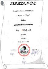 Turnier der Begleithunde am 26. Nov. 2005  beim Verein Hundesport und Ausbildungszentrum Seenregion in Abersee