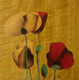 Marqueterie - Coquelicots