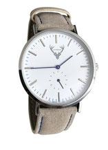 silberne Uhr mit hellbraunem Wildlederband Tracht
