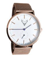 roségoldene Uhr mit Meshband Edelstahlband Tracht