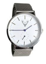 silberne Uhr mit Meshband Tracht