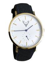 goldene Uhr mit schwarzemFilzband Tracht