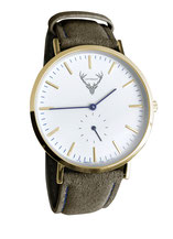 goldene Uhr mit waldgrünem Wildlederband Tracht