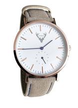 roségoldene Uhr mit hellbraunem Wildlederband Tracht