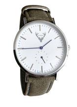 silberne Uhr mit waldgrünem Wildlederband Tracht