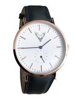 roségoldene Uhr mit schwarzem Lederband Tracht