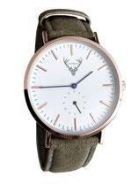 roségoldene Uhr mit waldgrünem Wildlederband Tracht