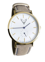 goldene Uhr mit hellbraunem Wildlederband Tracht