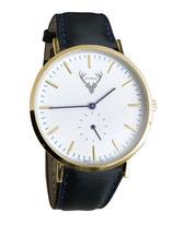 goldene Uhr mit schwarzem Lederband Tracht