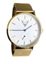 goldene Uhr mit Meshband Edelstahlband Tracht
