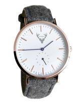 roségoldene Uhr mit grauem Filzband Tracht