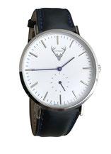 silberne Uhr mit schwarzem Lederband Tracht