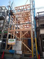 無垢の木でつくる 台東区 木造3階建て耐火建築物 上棟画像5