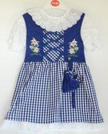Kinder Trachtenkleid Karo Mittelblau