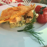 salmon pie with chanterelles