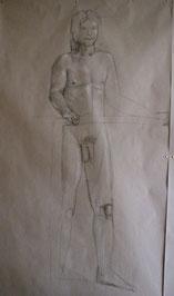 Aktzeichnung eines stehenden Mannes, lebensgroß, Bleistift