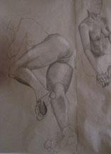 Aktzeichnungen einer liegenden Frau, lebensgroß, Bleistift
