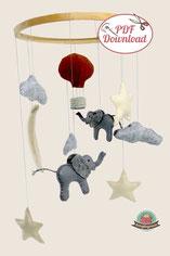 Mobile Babyzimmer, Nähanleitung, Filz, Ballon, Elefant, Wolken