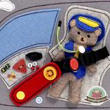 Teddys Flugstory Quiet book Spielbuch Softbuch Activity Buch Fühlbuch Stoffbuch Filzbuch Nähanleitungen