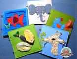 Spielbuch aus Filz zusammennähen, Fühlbuch, Montessori, Giraffe, Elefant, Igel, Huhn