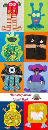 Quiet book Monster Freebook Spielbuch Verschlüsse lernen Kleinkind