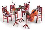 Musikinstrumente,  verschiedenes als Kartonmodell