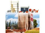 Baustelleneinrichtung, Bauwagen,Gerüst, Betonmischer, Modellbausatz der Firma Busch, 6045