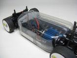 Glasklare Regenabdeckungen von Modellbau Kroh für das TAMIYA TT-01E Chassis