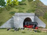 zweigleisige Tunnelportale, Plastik-Modellbausatz der Firma Auhagen, 11343