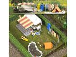 Wohnwagen mit Campingutensilien wie Schlauchboot,Matratzen, Markisen, Zelt, Modellbausatz der Firma Busch, 6023