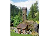 Burgruine, Aussichtsturm, Plastik-Modellbausatz der Firma Faller, 130291