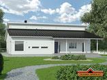 Ebenerdiges Blockhaus als Einfamilienhaus