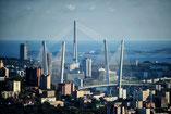 Vladivostok. Pont à haubans reliant l'île Rousski
