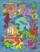 """""""Korallenmeerpopfische"""",  Acryl auf Leinwand  24/30 cm   April 2010"""