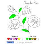 online kleuren : bloem + blad (eenvoudig)