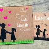 geboortecadeau, bordje, geboorte, nagemaakt van bestaand kaartje, 2 meisjes, zussen, Lauren
