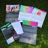 Flyers, notitieblok, schrijfboek, in een huisstijl, 1 lijn, hoort bijelkaar, Onyx sercurity, Amersfoort