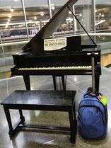 So gehört sich das für einen Flughafen: ein Flügel beim Abflug in Minneapolis mit der ausdrücklichen Aufforderung, darauf zu spielen!