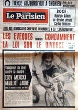 """Journal Le Parisien libéré avec en titre : """"les évêques condamnent la loi sur le divorce"""""""