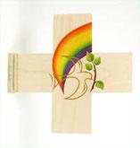 Holzkreuz Taube Regenbogen