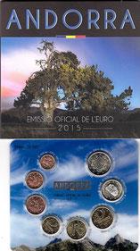 CARTERA OFICIAL - EUROSET MONEDAS ANDORRA - 2.015 BU - SERIE 8 VALORES (SC/UNC) 39,90€.