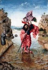 Jan Van Eyck - Saint-Christophe portant l'Enfant Jésus sur ses épaules