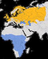 Karte zur Verbreitung des Schilfrohrsängers (Acrocephalus schoenobaenus)
