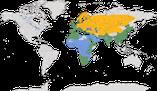 Karte zur Verbreitung der Grasmücken (Sylviidae)