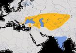 Karte zur Verbreitung des Rosenstars (Pastor roseus)