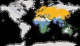 Karte zur Verbreitung des Drosselrohrsängers (Acrocephalus arundinaceus)